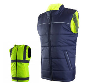 Mens Hi-Vis/High Visibility Double-Sided Body Warmer Yellow Orange Workwear