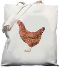 Chicken Design - Natural (Cream) Cotton Shoulder Bag / Shopper /Tote