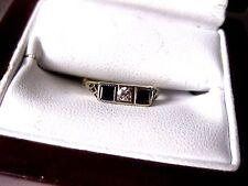 ANTIQUE 14K 2-tone YELLOW GOLD FILIGREE RING:DIAMOND & SAPPHIRES,ART DECO,1920's