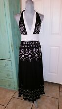 WUWATU, WHITE EMBROIDERED ON BLACK, MAXI HALTER TOP DRESS, SIZE S