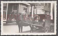 Vintage Photo Horse Drawn Cart w/ Roadsdie Shamrock Grill Sign 672322