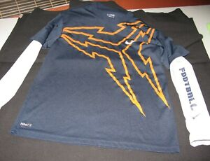 Nike Fit Football Shirt Youth Size 8 Blue and Orange White Sleeves with Football