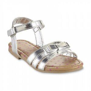 Toddler Girls'  Metallic Silver or Pink Sandals, Cora, Kora, or Nora.asst sizes.