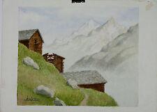 Aquarelle Zermatt Valais Suisse Henri Gommers 1988 Montagne