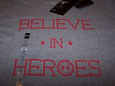 Under Armour BELIEVE IN HEROES S/S Freedom Shirt GREY/RED Women's XL ~ NWT $30