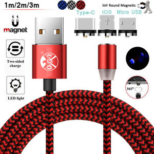 Braided Magnetic Lighting+ USB Charger Charging Cable For iPhone Samsung Type-C