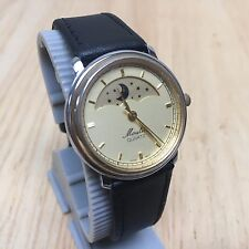 Vintage Moulin Men Lady Dual Tone Moon Phase Analog Quartz Watch Hour~New Batter