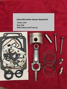 MASTER REBUILD KIT FOR 12HP Kohler,K301 piston 010 and rod 010 w/Valves+ tune up