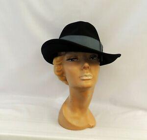 Black  Ladies Large Brim Tilt Fedora Hat 1930s 1940s Vintage style