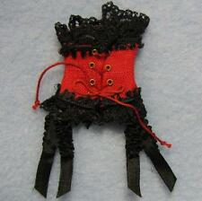 Dollhouse Red Corset w Black Lace HOXZ905 R Heidi Ott Lady 1:12 Victorian