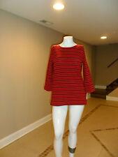 Croft&Barrow Women's Crewneck Button Shoulder 3/4 Sleeve Top Red Striped M NEW