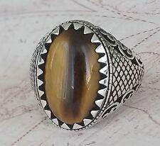 Turkish Ottoman Tigers Eye Gemstone Solid 925 Sterling Silver Men Ring