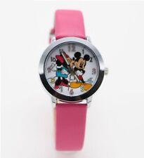 Reloj de pulsera niños Niñas Mickey & Minnie Mouse analógico de Cuero Correa Delgado Rosa Oscuro