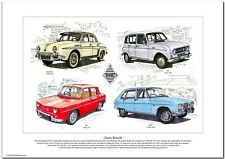 CLASSIC RENAULT  Fine Art Print  A3 size - Dauphine R4 R8 R16 models illustrated