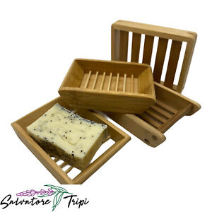 Bamboo Soap Plate Dish Wooden Rack Holder Bathroom Shower Storage Bath Tool UK