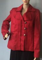 M & Co Womens Military Style Jacket Lined Pockets Uk Size 14 Red BNWOT