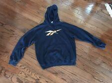 Mens Reebok Sweatshirt Large Navy Hoodie Vintage Big Logo