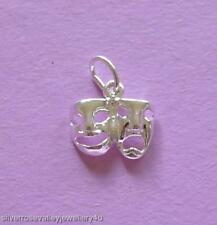 Comedy & Tragedy Drama Theatre Mask Charm Pendant STERLING SILVER