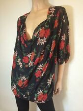 3/4 Sleeve Dry-clean Only Floral 100% Silk Tops for Women