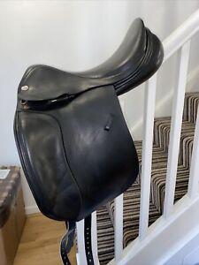 17.5 Harry Dabbs Jaguar Black Leather Dressage Saddle Wide Width