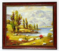 Country Lake Landscape  20 x 24 Oil Painting on Canvas w/ Custom Frame