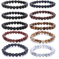 Men Lava Rock Chakra 8mm Beads Elastic Natural Stone Agate Women Bracelet