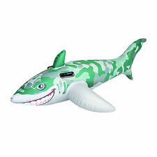 Bestway Army Camo Inflatable Shark Rider Swimming Pool Float with handles