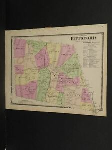 Vermont Rutland County Map Pittsford Township  1869 W7#81