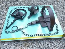 3 old antique hunter traps together 3 IN 1 iron trap