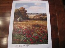 Italian Red Poppies Impressionist Oil Painting on Canvas 12 x 16 Unframed