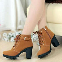 US Women Ladies Ankle Boots Platform Punk High Heels Winter Casual Shoes Lace