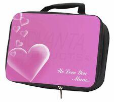 Pink Hearts 'We Love You Mum' Black Insulated School Lunch Box Bag, MUM-H2LBB