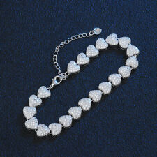 Women's 925 Sterling Silver Plated AAA Cubic Zircon Heart Tennis Bracelet 7 inch