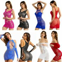 Sexy Women Hollow Out Mini Dress Mesh Sheer Fishnet Bodycon Babydoll Lingerie