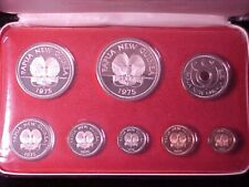 PAPUA NEW GUINEA 8-COIN PROOF SET 1975 GEM IN CASE NICE 1.7 OUNCES