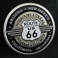ROUTE 66 DECO *US MADE* - Round Embossed Metal Tin Sign -Man Cave Garage Bar Pub