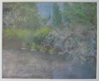 ANTIQUE AMERICAN IMPRESSIONIST FITCHBURG MA LOS ANGELES CA OIL PASTEL PAINTING