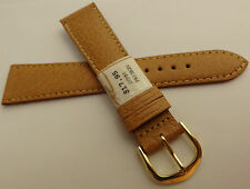New ZRC Made in France Natural Pigskin 20mm Watch Band Gold Tone Buckle $17.95