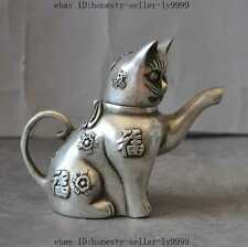old chinese silver lucky rich Cat wealth Pussy lucky statue Wine Tea Pot Flagon