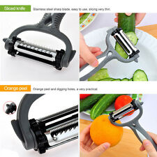 Stainless Steel Top Rotary Potato Peeler Vegetable Fruit Cutter Kitchen 3 Blade