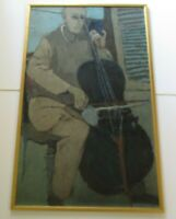 LARGE OIL PAINTING EXPRESSIONIST MID CENTURY 1950'S MUSICIAN MUSIC MODERNISM