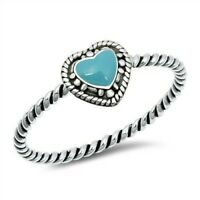 Heart Ring Genuine Sterling Silver 925 Turquoise Oxidized Height 6 mm Size 6