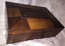 ANTIQUE INLAID WOOD Jewelry Or Sewing Box OLD SURFACE