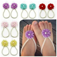 Baby Girls/Toddlers Flower White Pearl Barefoot Sandals 7 Colour Available