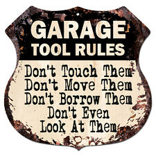 BP0735 GARAGE TOOL RULES Custom Personalized Rustic Tin Sign Decor Funny Gift