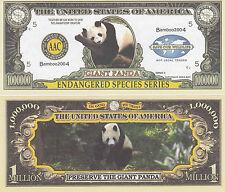 Two Panda Endangered Animal Novelty Bills # 203