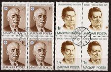 HONGRIE 2 blocs de 4 timbres  oblitérés Personnages  155T5