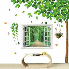 Huge Combo 3D Green View Window + Tree Stylish Home Wall Stickers ART Decal