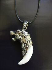 Cordón Encerado Plata Tibetana Cabeza De Lobo con Diente Charm Colgante Collar