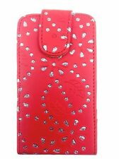 RED FASHION DIAMOND BLING FLIP CASE FOR SAMSUNG GALAXY ACE S5830 (2011) UK SELL